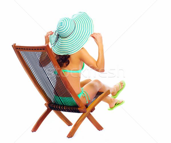 女性 リラックス ビーチ 孤立した 白 少女 ストックフォト © Kurhan