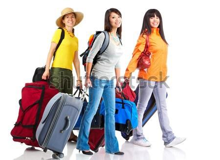 Stock fotó: Turisták · boldog · fiatal · izolált · fehér · család