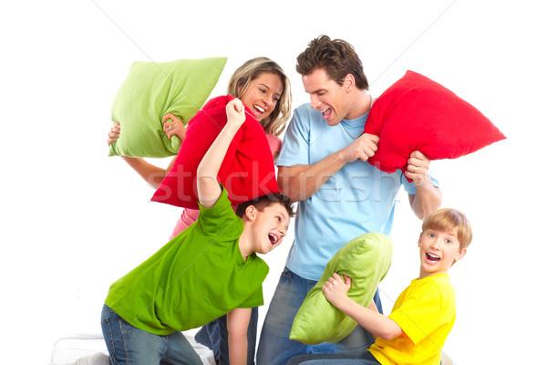 Stok fotoğraf: Mutlu · aile · baba · anne · çocuklar · beyaz · kadın