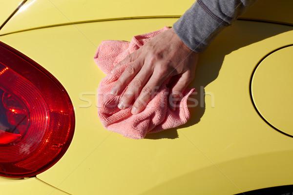 Araba balmumu bez el yıkama balmumu Stok fotoğraf © Kurhan