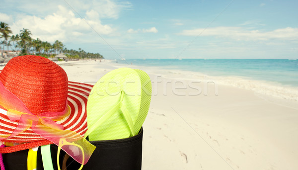 Suitcase with bikini and sunglasses. Stock photo © Kurhan