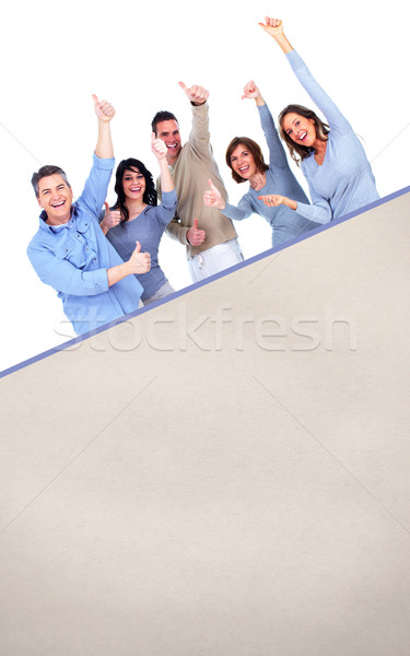 Smiling people with broadsheet Stock photo © Kurhan