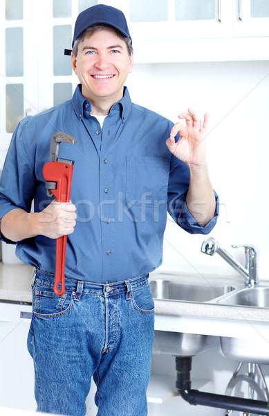 Encanador feliz profissional afundar reparação Foto stock © Kurhan