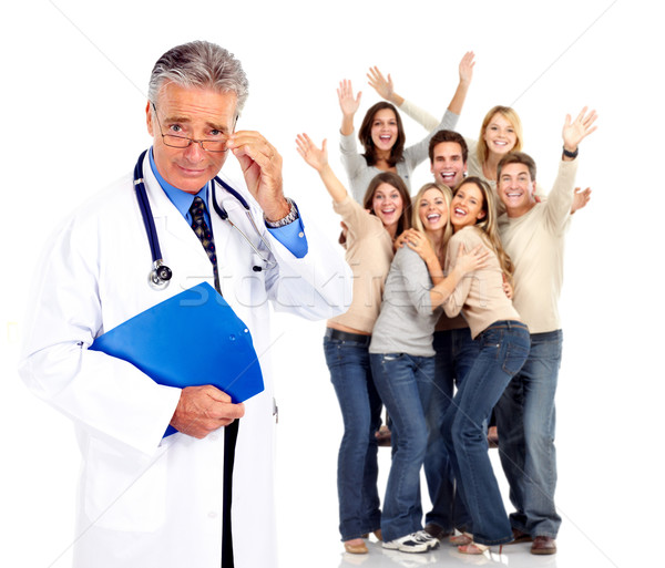 Medical doctor and happy people patients. Stock photo © Kurhan