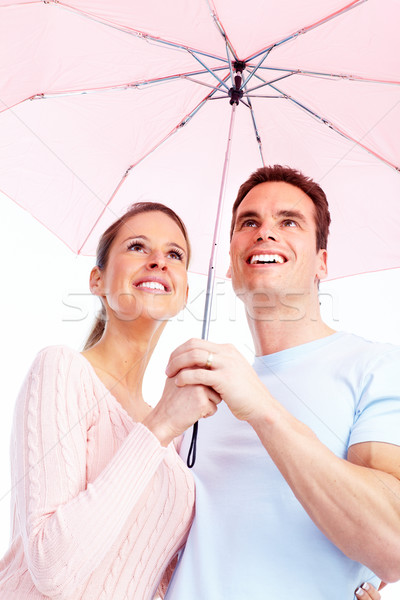 Heureux couple amour parapluie visage Photo stock © Kurhan