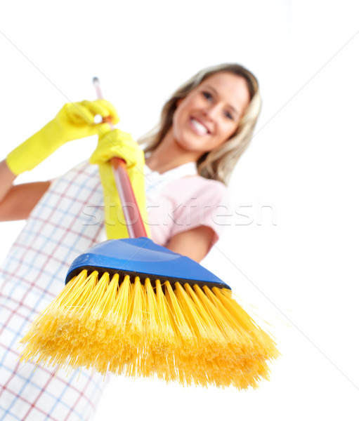 Young smiling cleaner woman. Stock photo © Kurhan