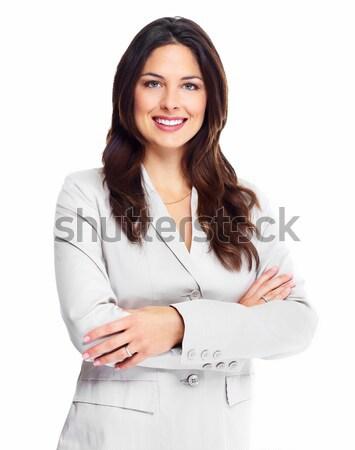 ストックフォト: ビジネス女性 · 肖像 · 幸せ · 小さな · 孤立した · 白