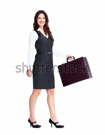 Photo stock: Femme · d'affaires · belle · jeunes · isolé · blanche · affaires
