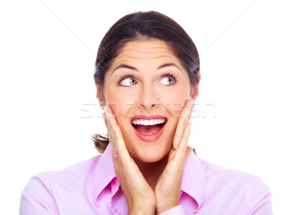 Heureux jeunes femme d'affaires portrait isolé blanche Photo stock © Kurhan