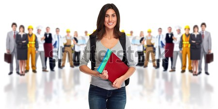 Stock photo: Business woman and group of workers people.