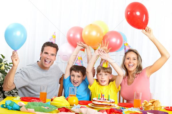 Glückliche Familie Geburtstag Vater Mutter Kinder Stock foto © Kurhan