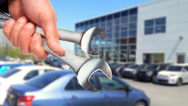 Hand Schraubenschlüssel Automechaniker professionelle Arbeit Hintergrund Stock foto © Kurhan