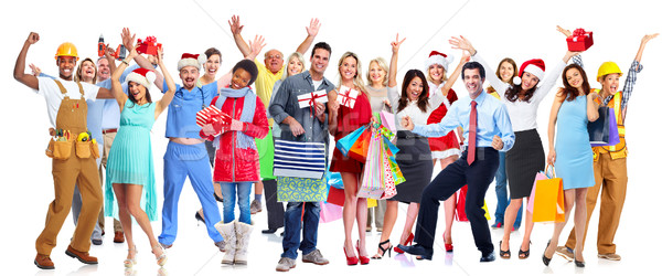Stock photo: Group of happy Christmas people with gifts.