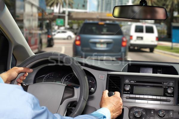 Foto d'archivio: Mani · uomo · volante · mano · guida · autostrada