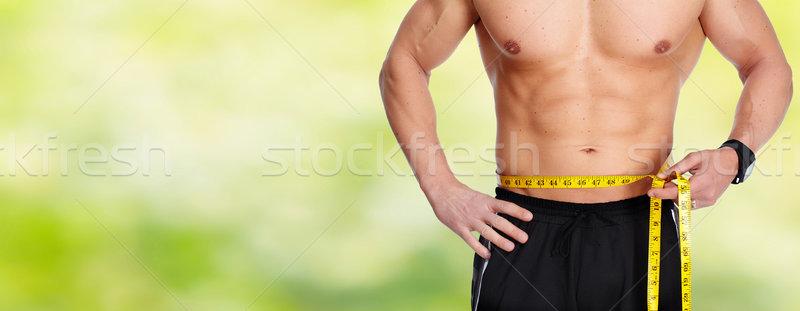 Mann Abdomen Maßband blau starken Gewichtsverlust Stock foto © Kurhan