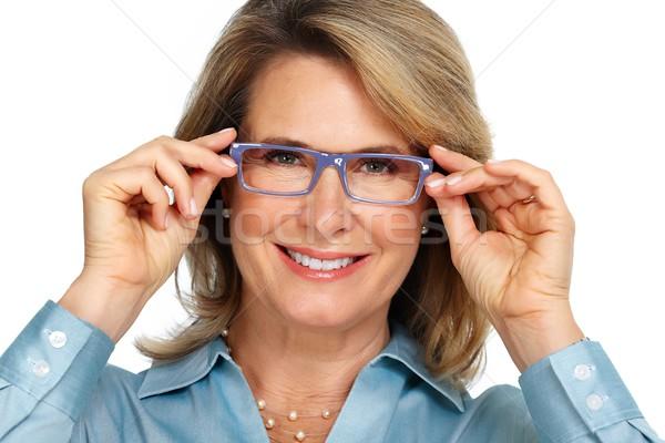 Senior business woman portrait with eyeglasses. Stock photo © Kurhan
