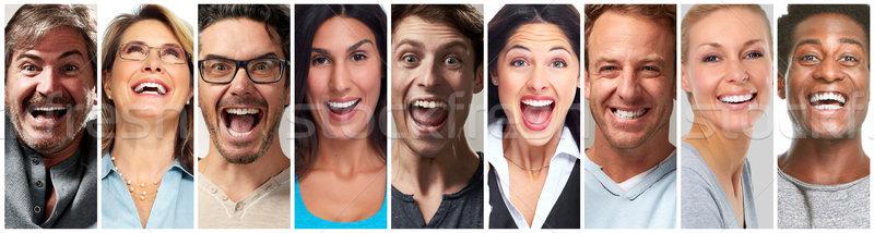 Happy people face set Stock photo © Kurhan