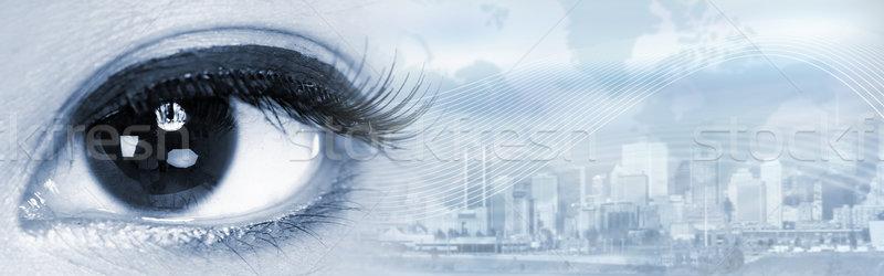 Kobieta oczy młodych asian patrząc Zdjęcia stock © Kurhan