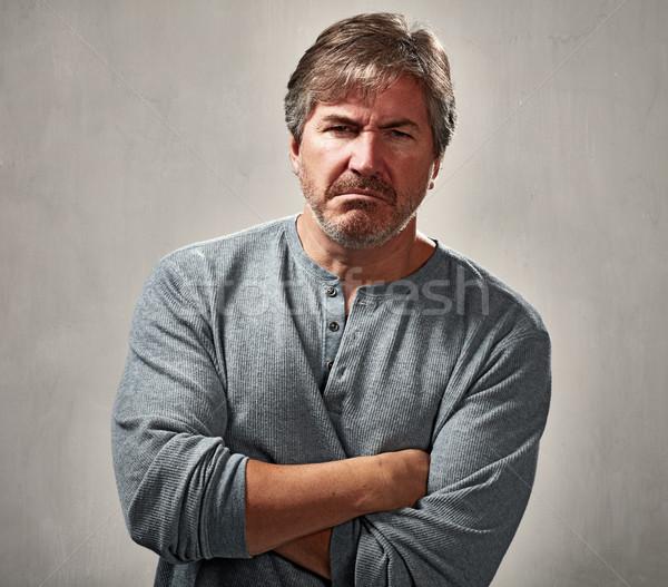Nefret dolu adam öfke portre gri duvar Stok fotoğraf © Kurhan