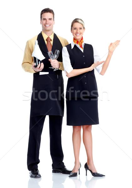 Camarero camarera jóvenes sonriendo aislado blanco Foto stock © Kurhan
