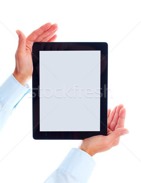 Stok fotoğraf: Eller · yalıtılmış · beyaz · iş · Internet