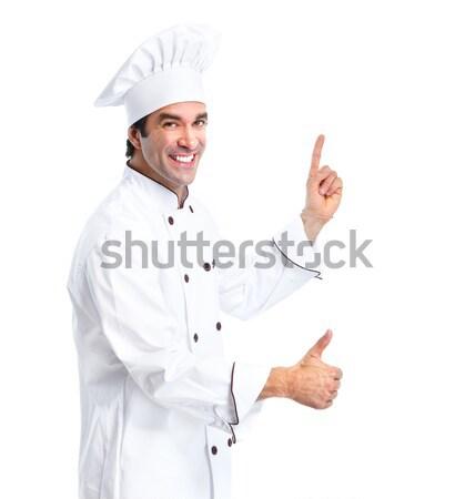 Zdjęcia stock: Kucharz · człowiek · zawodowych · odizolowany · biały · żywności