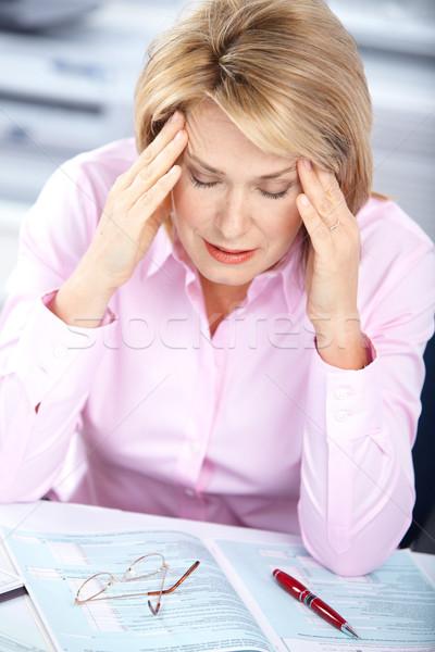 Stock fotó: üzletasszony · stressz · iroda · számítógép · nő · munka