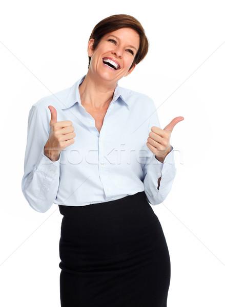 Foto stock: Feliz · excitado · mujer · de · negocios · retrato · aislado · blanco