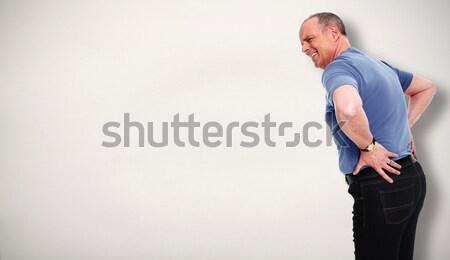 Foto stock: Senior · homem · dor · nas · costas · baixar · saúde · problema