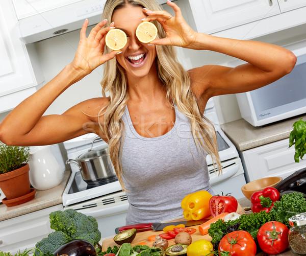 Heureux rire fille yeux tomates femme Photo stock © Kurhan