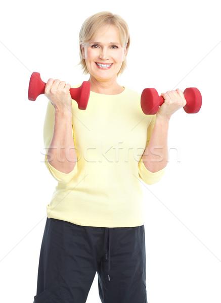 Foto stock: Ginásio · fitness · sorridente · isolado