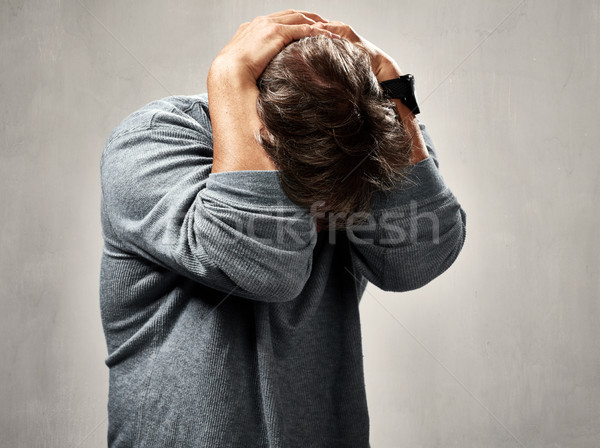 печально человека депрессия портрет серый стены Сток-фото © Kurhan