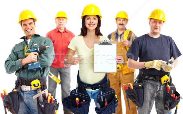 Contractor woman and group of industrial workers. Stock photo © Kurhan