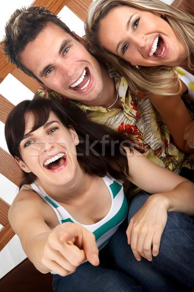 Boldog emberek fiatal izolált arc férfi nők Stock fotó © Kurhan