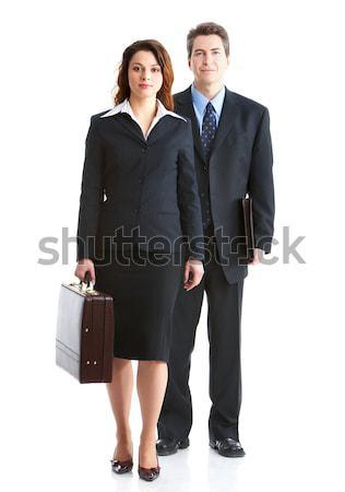 ストックフォト: ビジネスの方々 · 小さな · 笑みを浮かべて · 孤立した · 白 · コンピュータ