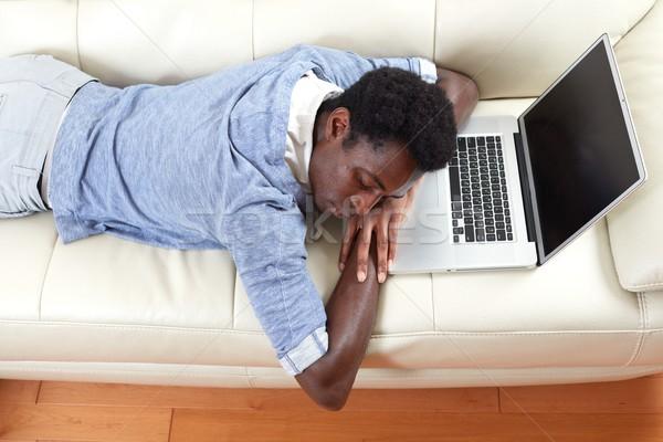 Sleeping black man. Stock photo © Kurhan