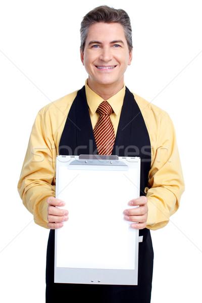 Сток-фото: официант · улыбаясь · красивый · изолированный · белый · бизнеса