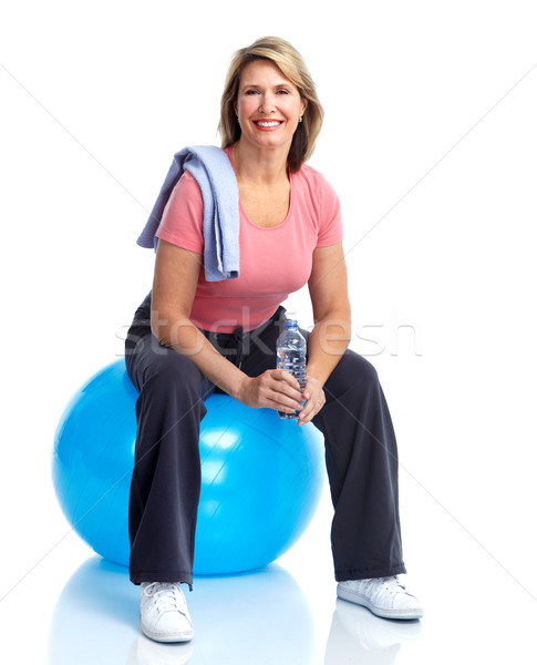 Senior fitness palestra donna bianco Foto d'archivio © Kurhan