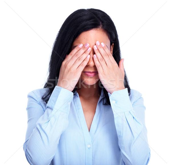 Fiatal félénk nő rejtőzködik arc fehér Stock fotó © Kurhan