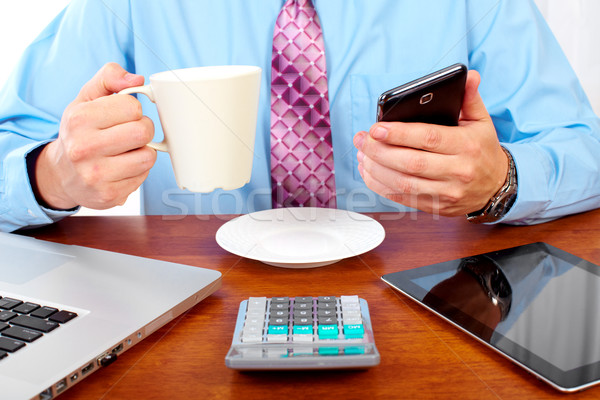 Business people group working with laptop. Stock photo © Kurhan