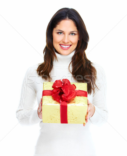 Mooie jonge christmas meisje geschenk aanwezig Stockfoto © Kurhan