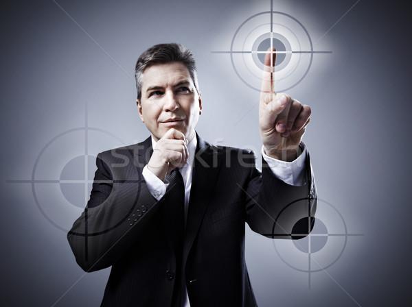 Uomo toccare pulsanti business tecnologia sfondo Foto d'archivio © Kurhan