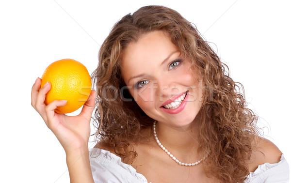 Stock foto: Frau · orange · schönen · isoliert · weiß