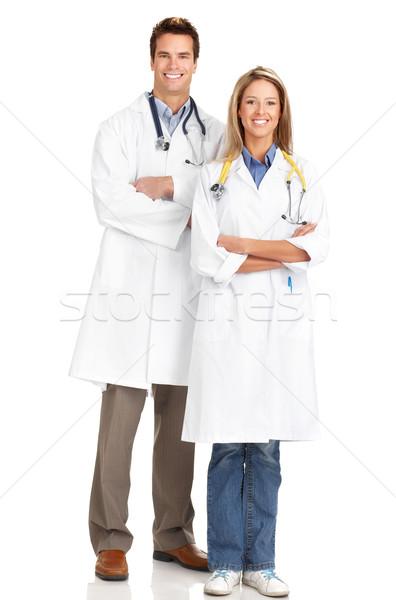 医療 医師 笑みを浮かべて 孤立した 白 作業 ストックフォト © Kurhan
