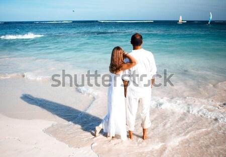 Loving couple looking ocean Stock photo © Kurhan