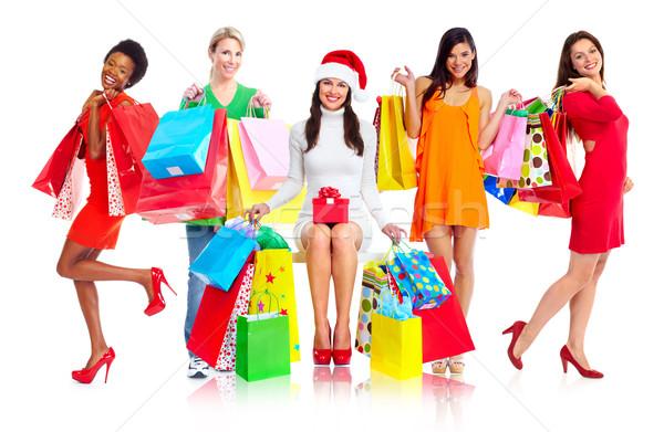 Csoport vásárlás nők izolált fehér lány Stock fotó © Kurhan