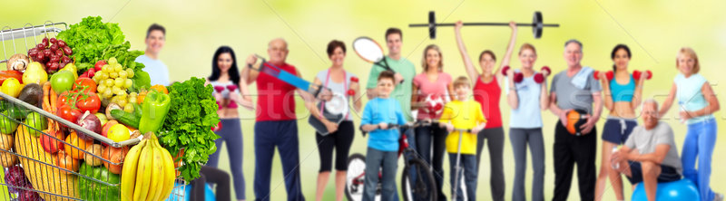 Group of fitness people with food. Stock photo © Kurhan