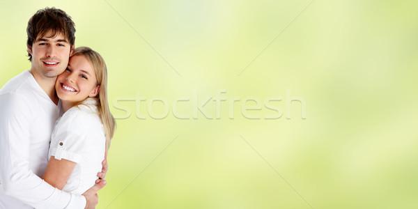 молодые улыбаясь пару любви зеленый женщину Сток-фото © Kurhan