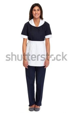 Hizmetçi kadın genç gülen yalıtılmış beyaz Stok fotoğraf © Kurhan