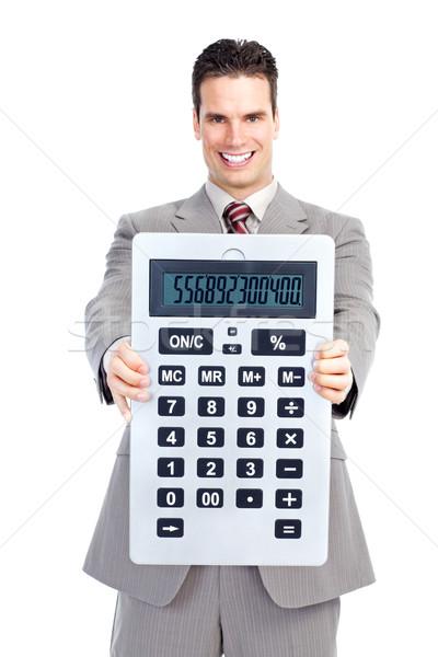Empresario calculadora contador hombre de negocios grande blanco Foto stock © Kurhan